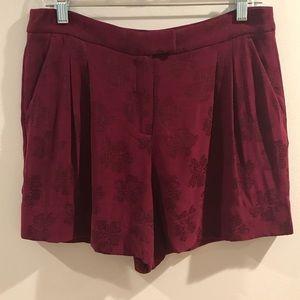 Massimo Dutti Wine Floral Shorts